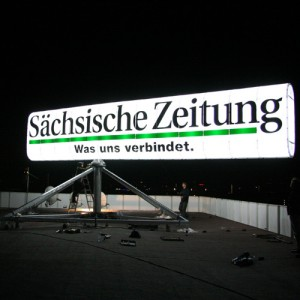 Saxonian Newspaper: Rotating Advertising Sign